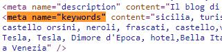 Tag meta keywords