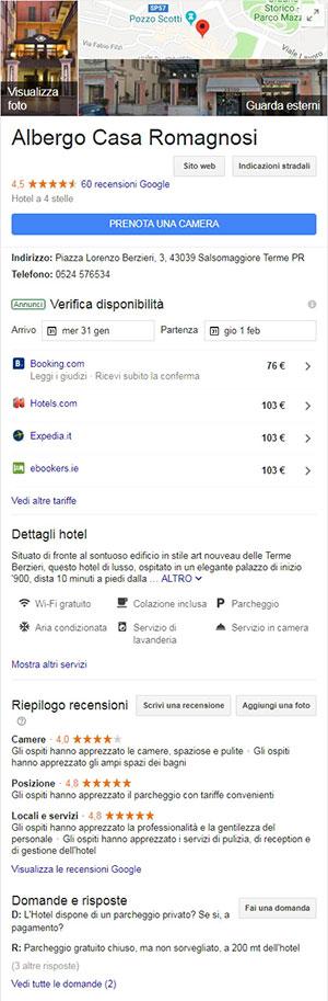 Una scheda local di un hotel nei risultati di ricerca di Google