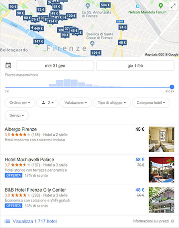 """I risultati local per la ricerca """"hotel firenze"""" su Google"""