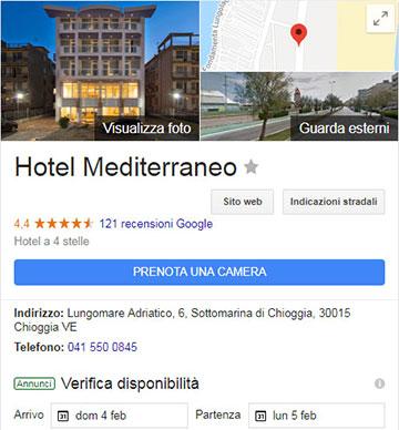 """Il pulsante """"Prenota una camera"""" nella scheda local di un hotel"""