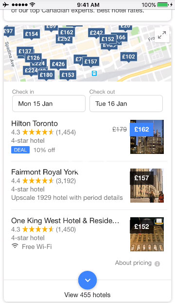 Novità nell'interfaccia di ricerca hotel su Google