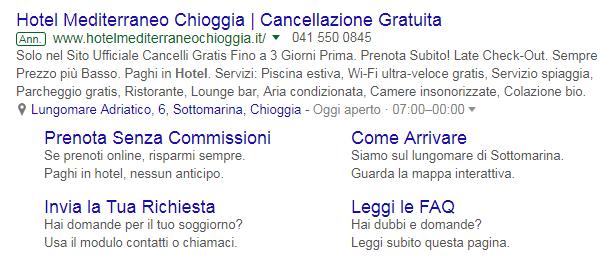 Annuncio di testo di un hotel su Google