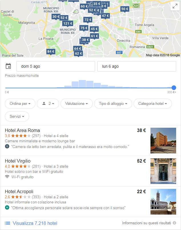 Hotel a Roma su Google