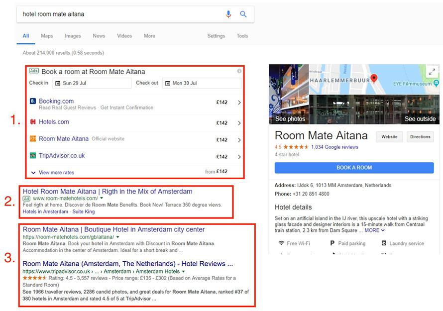 Nuova pagina di risultati su Google per hotel