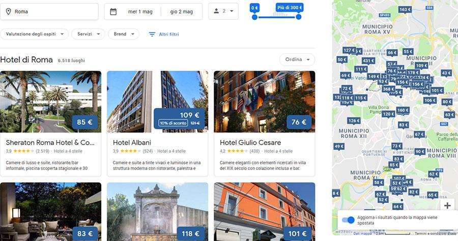 Ricerca hotel su Google